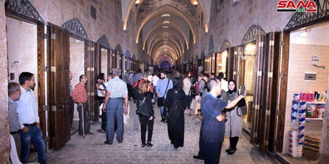 افتتاح سوق السقطية بمدينة حلب القديمة بعد إعادة تأهيله