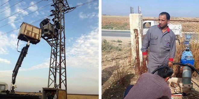 جهود عمال مياه وكهرباء الحسكة تعيد محطة مياه علوك التي تضررت جراء عدوان النظام التركي للخدمة