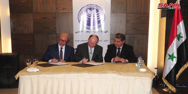 توقيع عقود دعم مالي لثلاثين مشروعاً بحثياً تطبيقياً بموازنة تقدر بـ 425 مليون ليرة