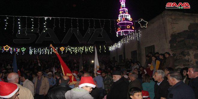 كنائس إزرع بريف درعا تواصل احتفالها بقرب عيد الميلاد المجيد
