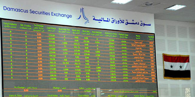 مؤشر سوق دمشق للأوراق المالية يرتفع 73.98 نقطة مع بداية الأسبوع