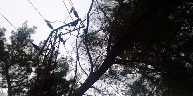 رياح شديدة في اللاذقية تلحق أضراراً بالزراعة المحمية والشبكة الكهربائية