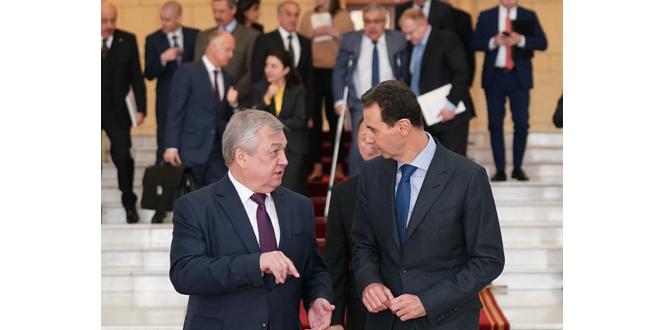 الرئيس الأسد يستقبل المبعوث الخاص للرئيس الروسي إلى سورية الكسندر لافرنتييف ونائب وزير الخارجية الروسي سيرغي فيرشينين