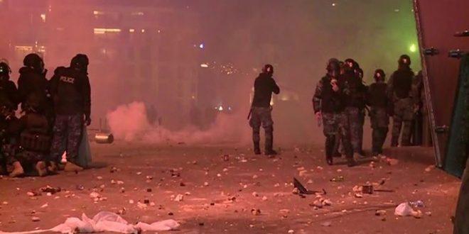 تجدد أعمال الشغب لعدد من المتظاهرين وسط بيروت