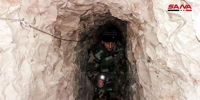 وحدات الجيش تضبط شبكة كبيرة من الأنفاق وأسلحة ثقيلة من مخلفات الإرهابيين في كفرسجنة المحررة بريف إدلب الجنوبي-فيديو