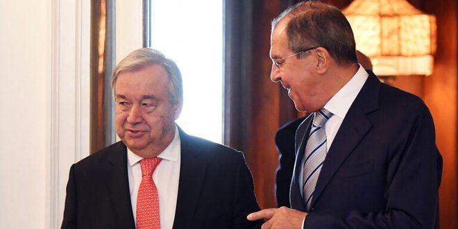 لافروف يبحث مع غوتيريس الوضع في سورية