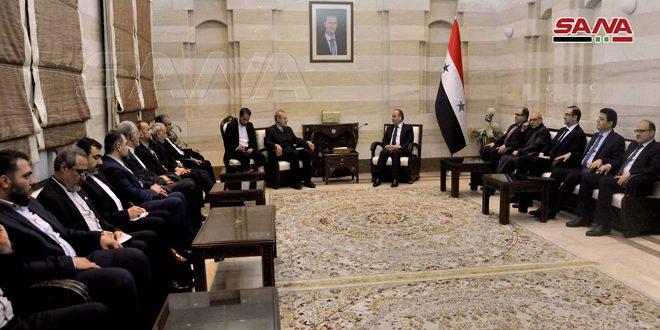 المهندس خميس يبحث مع لاريجاني سبل زيادة التعاون الاقتصادي بين سورية وإيران