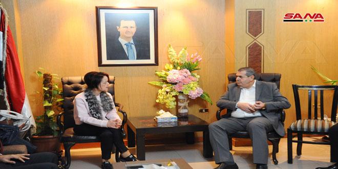 الوزير النداف يبحث مع وفد برنامج الأغذية العالمي تطوير التعاون وفتح آفاق جديدة له