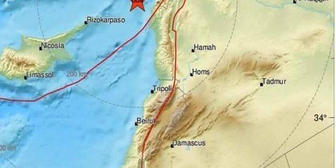 هزة بقوة 7ر4 درجات تضرب الساحل السوري