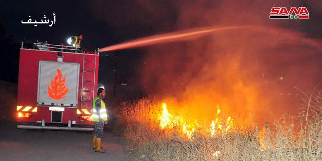 إخماد 20 حريقاً في درعا أدت لتضرر مساحات مزروعة بالقمح والحمص والشعير