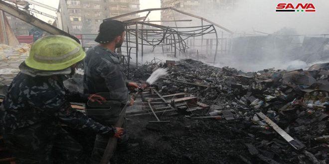 إخماد حريق في منطقة باب مصلى بدمشق اقتصرت أضراره على الماديات