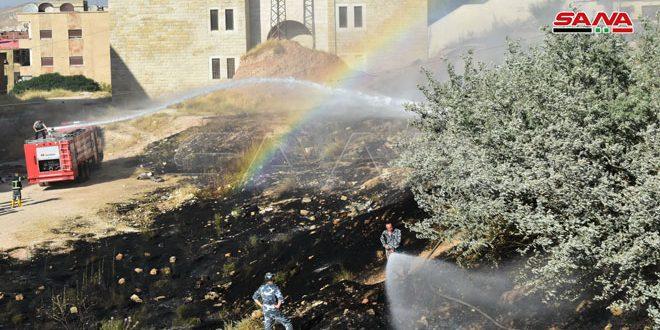إخماد حريقين نشبا بأعشاب يابسة في منطقتي قدسيا وأشرفية الوادي