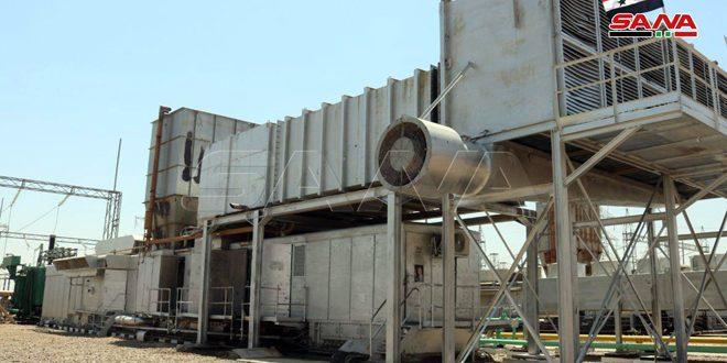 وضع المجموعة الغازية الثانية لتوليد الكهرباء بمحطة التيم في ريف دير الزور بالخدمة بعد تأهيلها