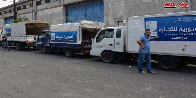 سيارات جوالة للسورية للتجارة لبيع السكر والرز في قرى وبلدات ريف اللاذقية