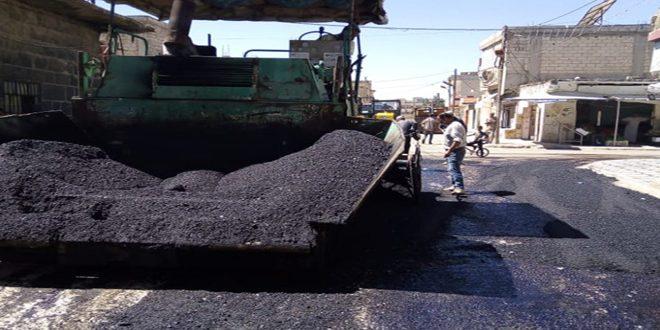 المباشرة بأعمال صيانة طريق درعا بصرى السياحي