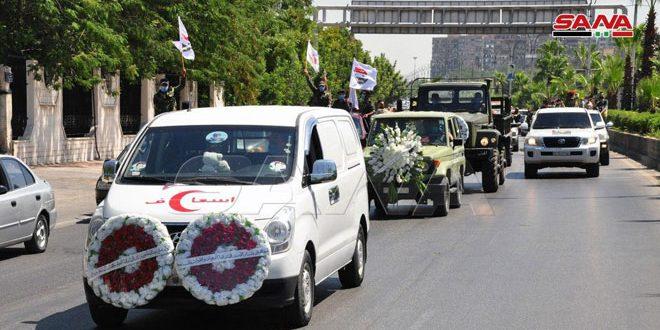 تشييع اللواء محمد طارق الخضراء من مشفى تشرين العسكري إلى مثواه الأخير في مقبرة الدحداح بدمشق