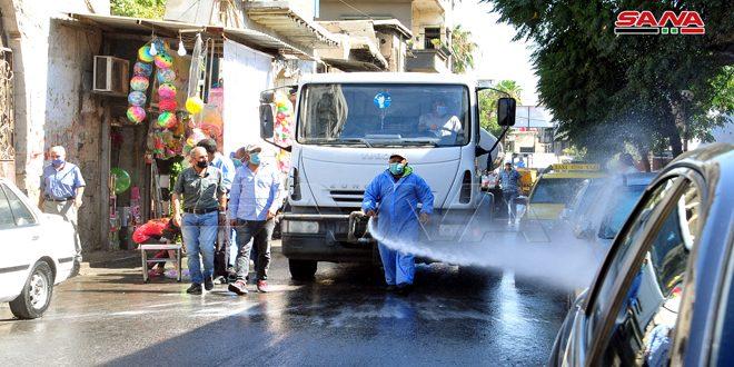 إطلاق حملة تعقيم وتنظيف مركزة في شوارع وأحياء مدينة دمشق لتعزيز إجراءات التصدي لكورونا