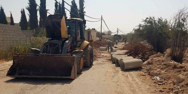 مشروعات خدمية لتعبيد الشوارع والصرف الصحي في عدد من مناطق ريف دمشق