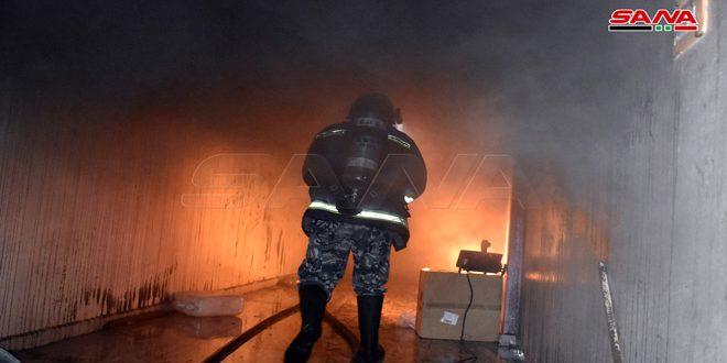 إخماد حريق في مستودع جلود بسبب ماس كهربائي في حماة