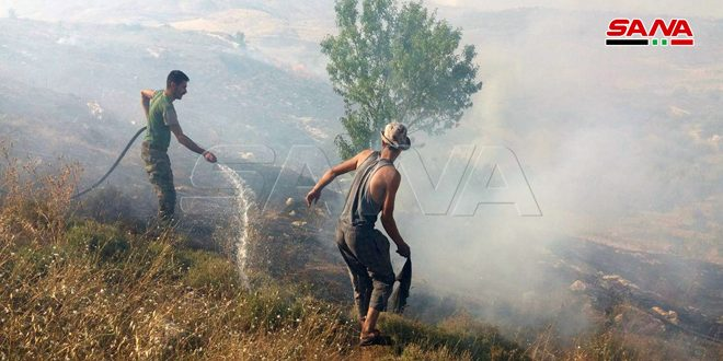 إخماد حريق في موقع عين التينة بريف القنيطرة الشمالي