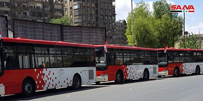محافظة دمشق: زيادة الطاقة التشغيلية اليومية لباصات النقل الداخلي على كل الخطوط لتأمين الركاب