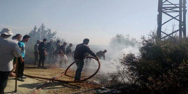 إخماد حريق في قرية الرستين بريف اللاذقية.. وورشات الكهرباء تباشر صيانة محولة الكهرباء