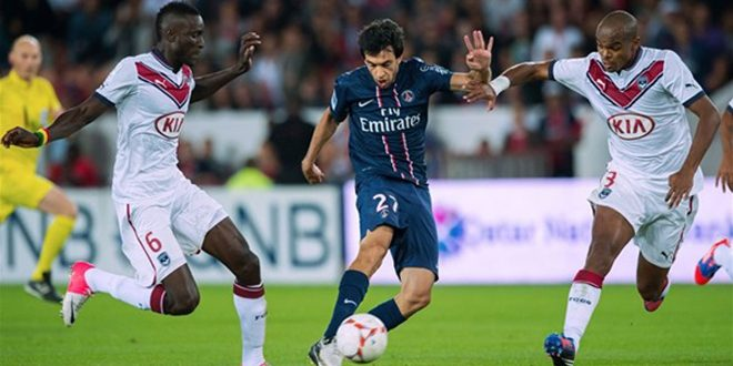 باريس سان جيرمان يتعادل أمام بوردو بهدفين لكل منهما بالدوري الفرنسي لكرة القدم