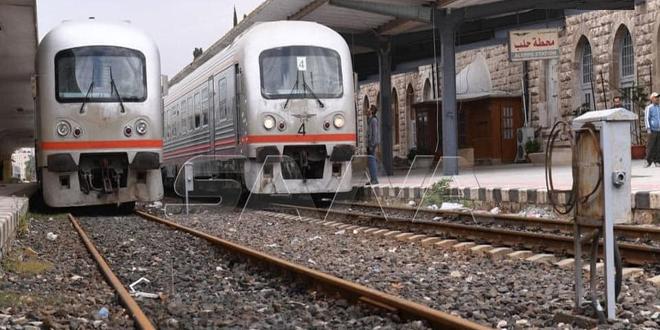 إنهاء أعمال الصيانة واستمرار العمليات التجريبية للخط الحديدي (حلب-حماة-حمص-دمشق) لوضعه بالخدمة