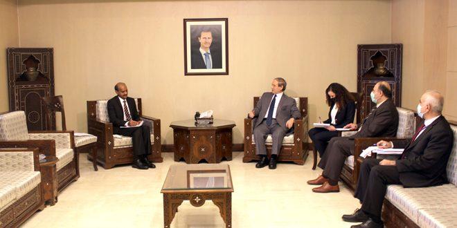 المقداد يعرب لسفير الهند عن تقدير سورية لموقف الحكومة الهندية الداعم لها في حربها ضد الإرهاب