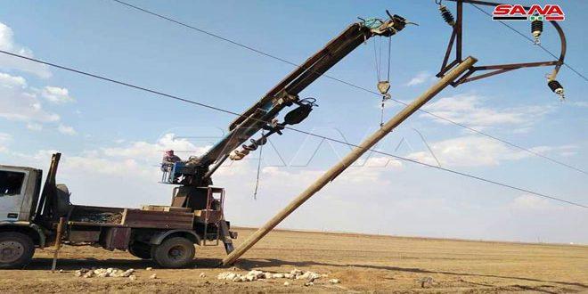 إصلاح أعطال وصيانة مراكز التحويل وخطوط توتر الكهرباء في القامشلي