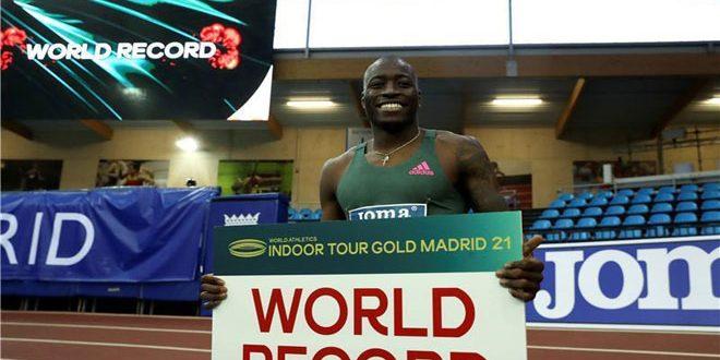 هولواي يحطم الرقم القياسي لسباق 60 متراً
