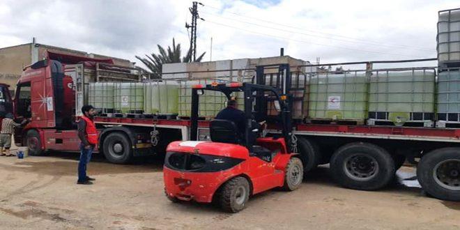 فرع الهلال الأحمر بدرعا يقدم 30 طناً من مواد التعقيم لمؤسسة مياه الشرب