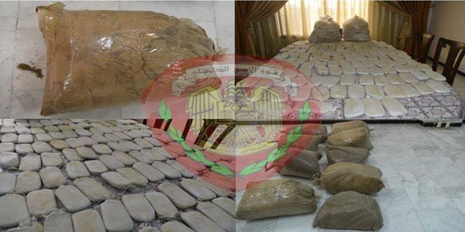 فرع مكافحة المخدرات في حمص يضبط 129 كيلوغراماً من المواد المخدرة في منزل مهجور بمنطقة القصير