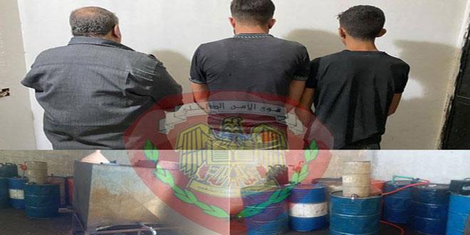 ضبط 1300 ليتر مازوت والقبض على 3 أشخاص يتاجرون بالمادة في السوق السوداء بريف دمشق
