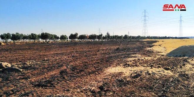 إخماد حريق نشب في حقول قمح بريف درعا