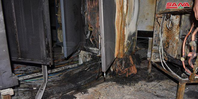 انقطاع خدمة الانترنت جراء حريق في مركز هاتف ضاحية أبي الفداء بحماة