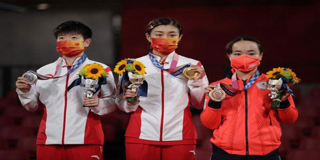 الصين تحصد ذهبية وفضية تنس الطاولة للسيدات في أولمبياد طوكيو