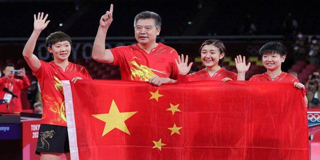 الصين تفوز بالميدالية الذهبية الرابعة على التوالي لفرق السيدات لتنس الطاولة بأولمبياد طوكيو