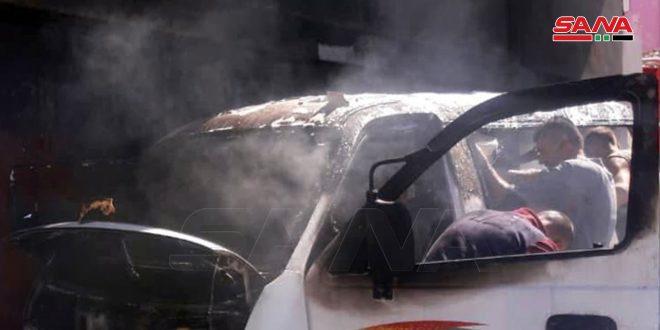 إخماد حريق في منزل وسرفيس في ريف طرطوس