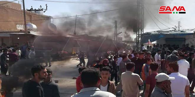مظاهرة في مدينة عامودا بريف الحسكة تنديداً باعتداءات ميليشيا (قسد) 