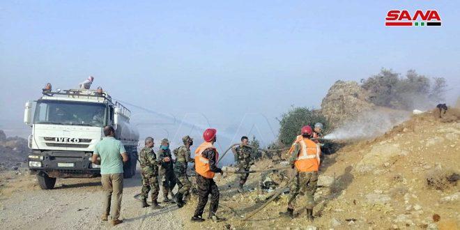 إخماد حريق اندلع في حراج جبلية بريف حماة الغربي
