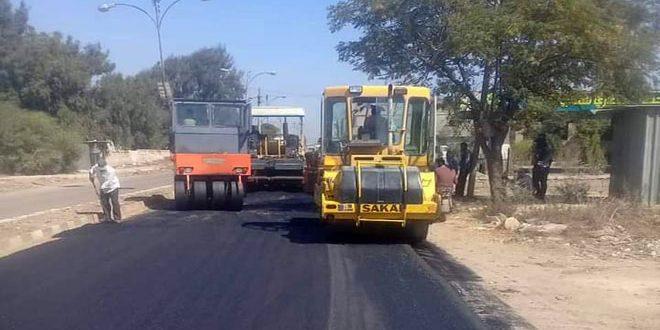 الانتهاء من صيانة طريق طفس المزيريب