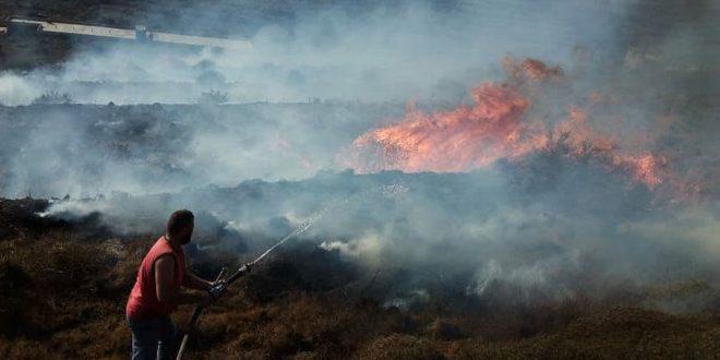 حمص.. إخماد حريق في الأراضي الزراعية لبلدتي شين والصويري