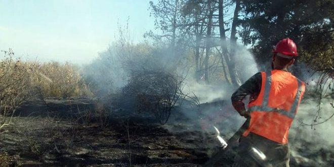 إخماد حريق بالأراضي الزراعية في قرية رباح بريف حمص